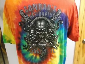 CONRAD-039-S-HARLEY-DAVIDSON-TIE-DYE-T-SHIRT-XL-NWT-JOLIET-ILLINOIS-MOTORCYCLES