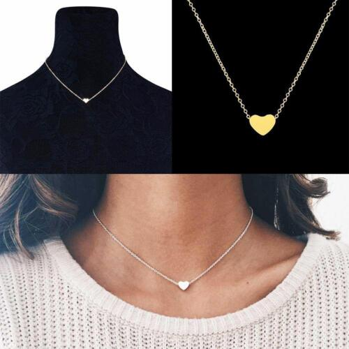 Women Jewelry Chain Stainless Steel Necklace Gold Color Dainty AlloyHeart-Shaped