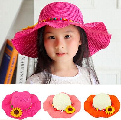 JINRMP Straw Sunhat Children Summer Sun Visor Caps with Wide Wavy Brim Girls Beach Cap Kids Floppy Hats