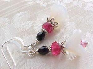 Flower-Drop-Earrings-Hot-Pink-Czech-Glass-Trumpet-Mori-Girl-Gift-Woman-Friend