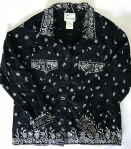 Quacker-Factory-Jacket-Womens-Medium-Black-Denim-Jean-Rhinestones-Beads