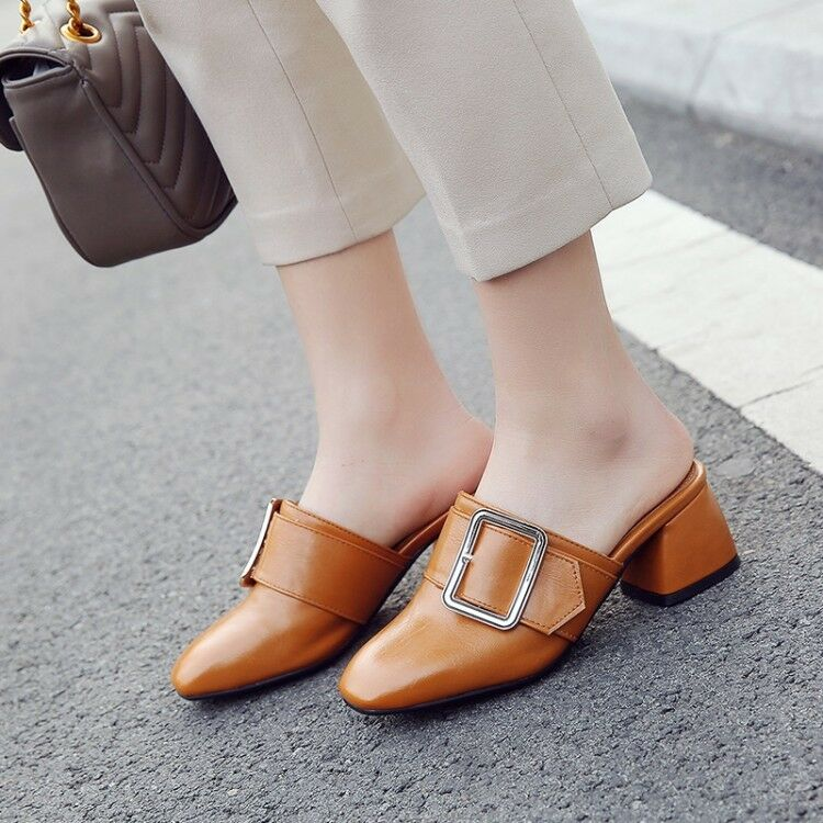 Women's Square Toe Mules Chunky Heels Pumps Faux Leather Fashion Sandals shoes
