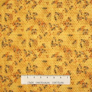 Spring-Fabric-Bees-amp-Flowers-Toss-Honeycomb-Yellow-Elizabeth-039-s-Studio-YARD