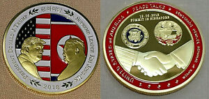 Donald-Trump-Gold-Kim-Jong-Un-Coin-Peace-Talks-SIngapore-USA-DPRK-Old-Americana