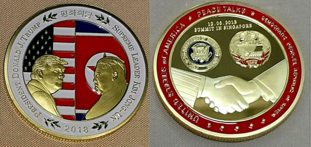 Donald Trump Gold Kim Jong Un Coin Peace Talks SIngapore USA DPRK Old Americana