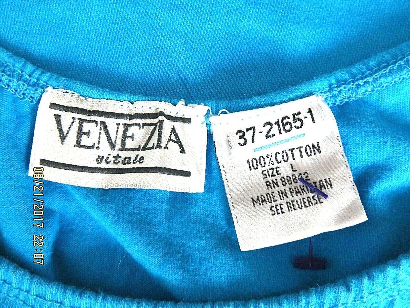 VENEZIA VITALE SZ L 100% Cotton Turquoise Blue Ru… - image 10