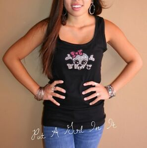 1725c21e70a0b PLUS SIZE BLING BLACK SKULL CROSSBONES PINK BOW BIKER TANK TOP SHIRT ...