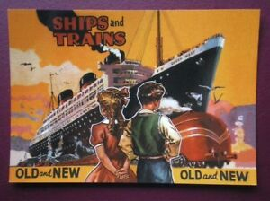 POSTCARD-SHIPS-amp-TRAINS-OLD-amp-NEW-1930-039-S-BOOK-COVER