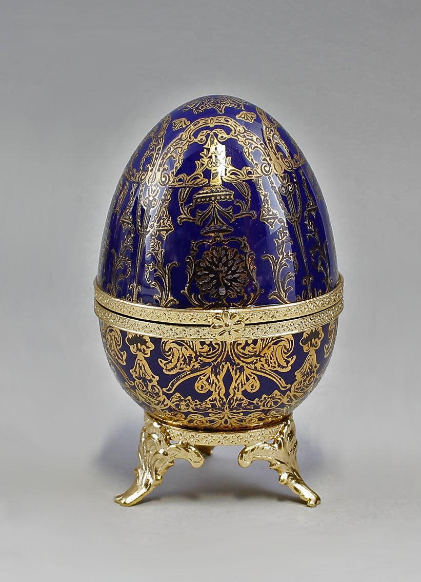 9987145 porcelaine othengrafen Porcelaine-OEUF BOITE SUR PIED Kobaltbleu h13cm
