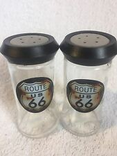 Route 66 Salt And Pepper Shakers Stainless Steel Top 4.5 Inches Tall