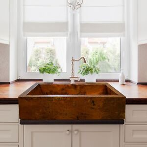 Image Is Loading Hammered Copper Apron Farmhouse Kitchen Sink 22 034