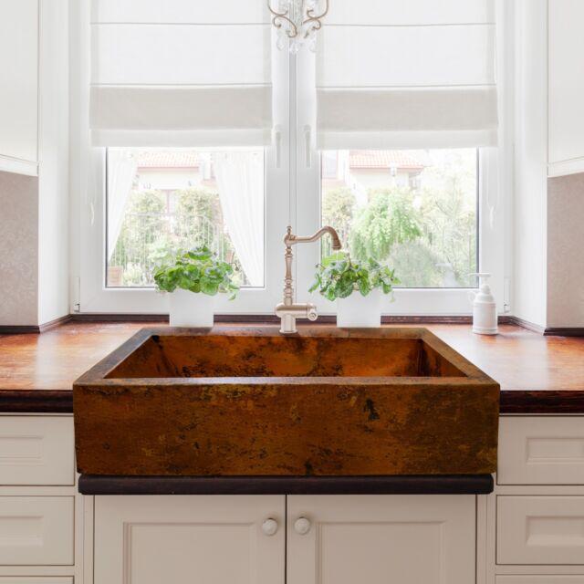 Hammered Copper Farmhouse Kitchen Sink 36\