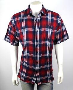 True-Religion-149-Men-039-s-Loose-Fit-Plaid-Button-Up-Shirt-Top-MSGAQ4BM3