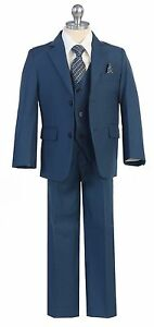 Boys-Toddler-Kid-Teen-5-PC-Wedding-Formal-Party-Blue-Suit-Tuxedo-w-Vest-sz-2-20