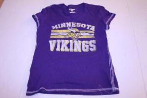 Women's Minnesota Vikings L Glitter T Shirt Tee (Purple) NFL Team