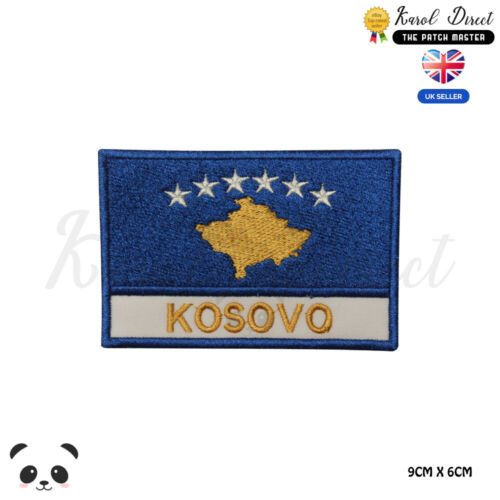 KOSOVO National Flag With Name Embroidered Iron On Sew On Patch Badge