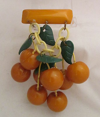 Vintage Bakelite Butterscotch Colored Carved Cherries Dangle Pin Brooch