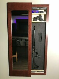 Rangement Caché Miroir In-wall Gun Safe Dissimulation Cabinet-rouge Acajou-afficher Le Titre D'origine