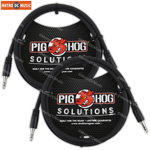 2-Pack Pig Hog 3.5mm TRS to 3.5mm TRS 9ft Stereo Cable Cord