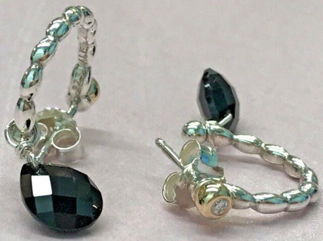 Pandora 14k Gold Ss Elegant Embrace Black Onyx Diamond Earrings 290519on
