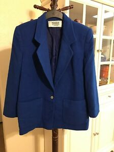 Blazer bleue Goodman Vintage Bergdorf 100 cachemire veste royale aXO0nq86wn