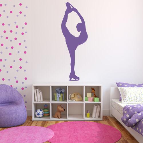 Eiskunstläufer Pose Wandaufkleber Eislaufen Wandtattoo Mädchen Schlafzimmer