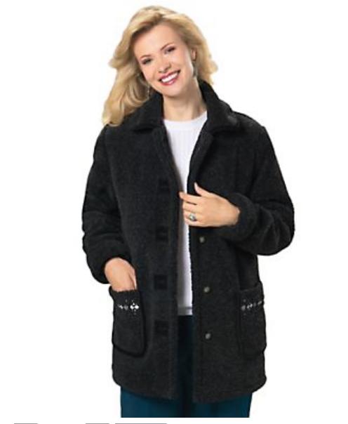f2141b7b0c3 NEW NWT Tudor Court Black Berber Fleece Reversible Embroidered Jacket Size  PL