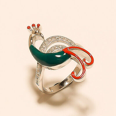b6ae3a588db225 Details about 925 Sterling Silver 23Ct Natural Enamel Peacock Design Fine  Women Jewelry Ring