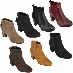 Ladies scarpe Chelsea Ankle Stivali Donna Suede Look scarpe Ladies Block Heel   613f14