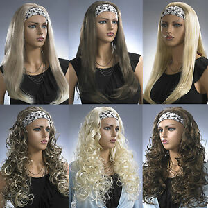 Ladies-Long-Half-3-4-Wig-Fall-Clip-In-Hair-Extension-Black-Brown-Blonde-Long-Wig