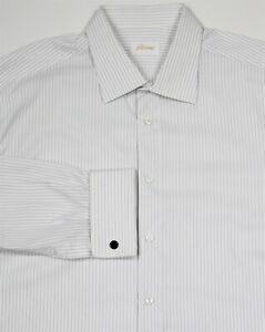 Brioni-Recent-Blanc-Avec-Bleu-Rayures-Francais-Manchette-Robe-Coton-Chemise