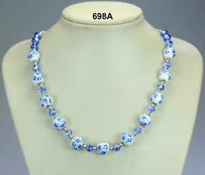 Light-blue-flower-porcelain-bead-amp-glass-crystal-necklace-silver-chain-19-034-2