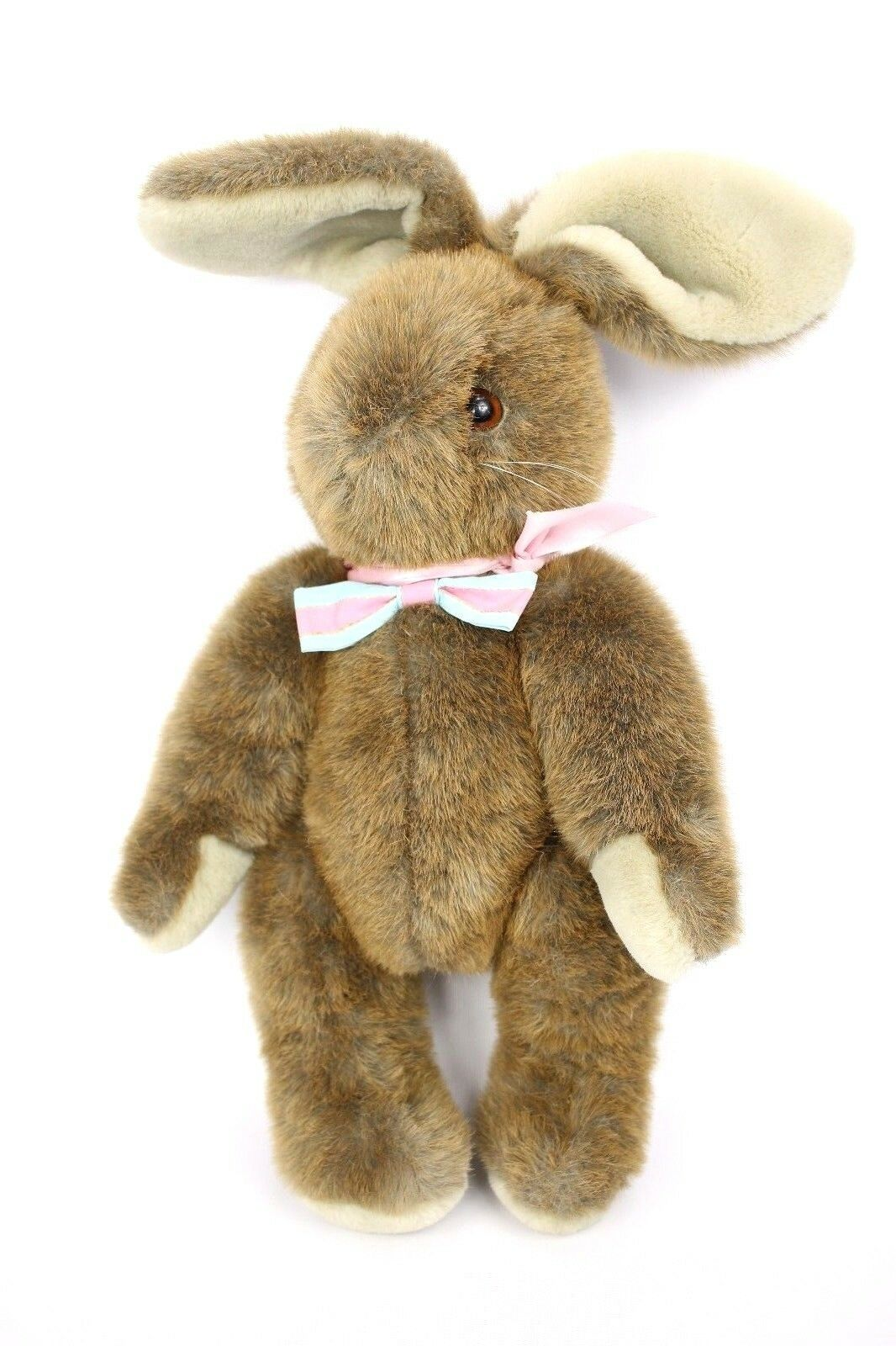 22  VTG 80s Applause Jointed Brown Bunny Rabbit Made in Korea Pink bluee Bow Tie