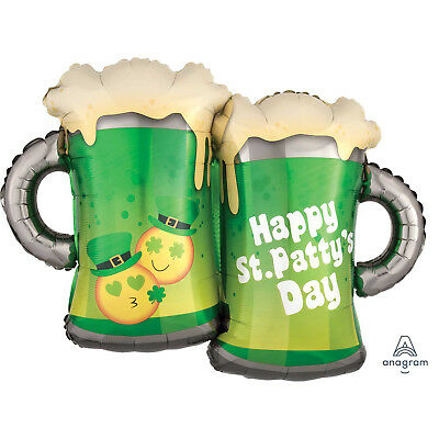 Happy St Patricks Day Holographic Beer Glasses Supershape Foil Balloon