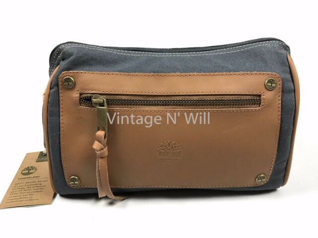 c54659cc1d70 Timberland Navy Blue Brown Leather Canvas Shaving Toiletry Bag Travel Dopp  Kit