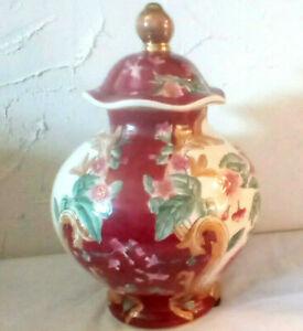 """13"""" ANTIQUE RUBY RED & FLORAL VASE & LID BY ORIENTAL ACCENT, GINGER JAR, URN"""