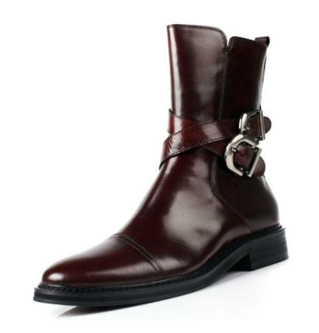 Mens Brogue Buckle FashionStrappy Ankle Boots Genuine Leather Dress Formal shoes