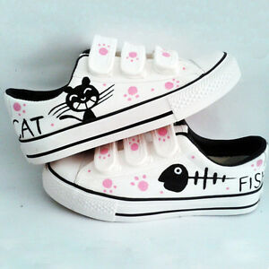 New-Womens-Fashion-Colorful-Hand-painted-Canvas-Shoes-Cat-amp-Fish-Cute-Kittens