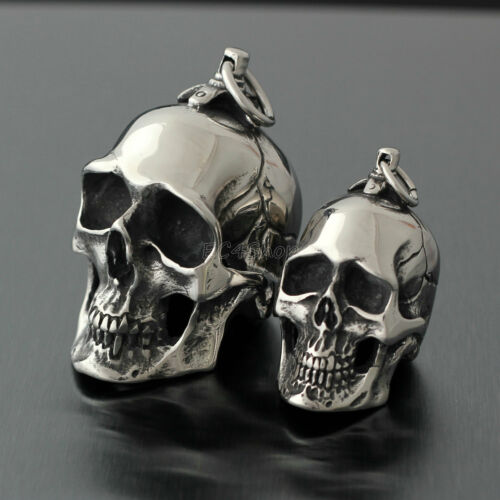 Men/'s Huge Heavy Gothic Vintage Silver Skull Stainless Steel Necklace Pendant