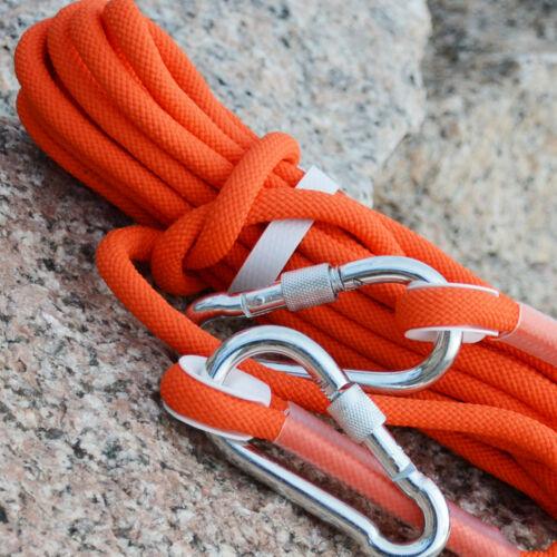 10M Orange Tree Arborist Rock Climbing Rescue Auxiliary Rope Cord /& 2 Carabiners