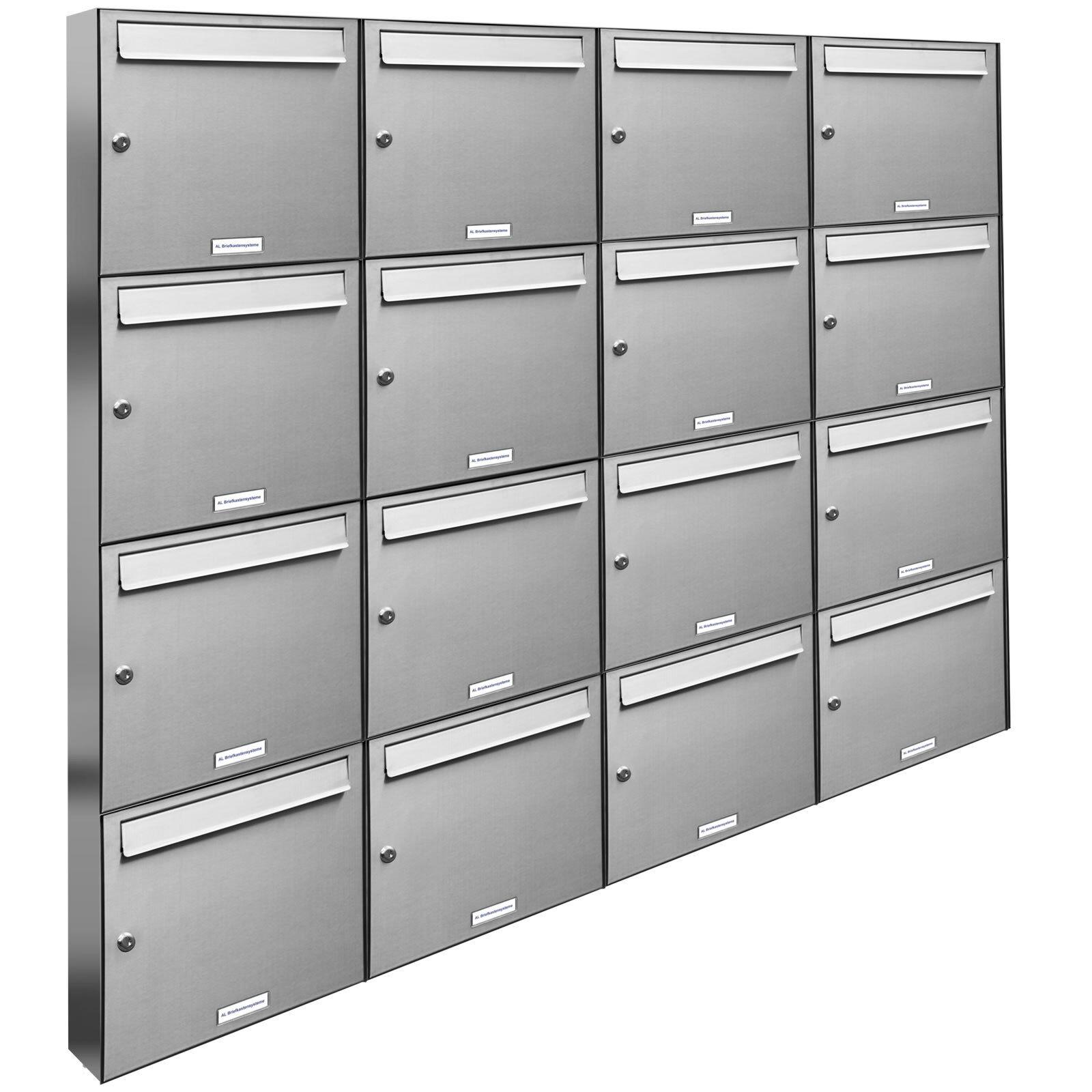 16 er Premium Edelstahl Wand Briefkasten Anlage A4 Postkasten Fach Anordng. 4x4
