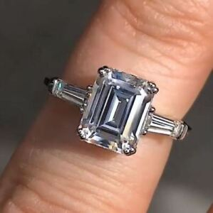 1.50Ct Emerald Cut Diamond Vintage Style Engagement Ring in14K White Gold Finish