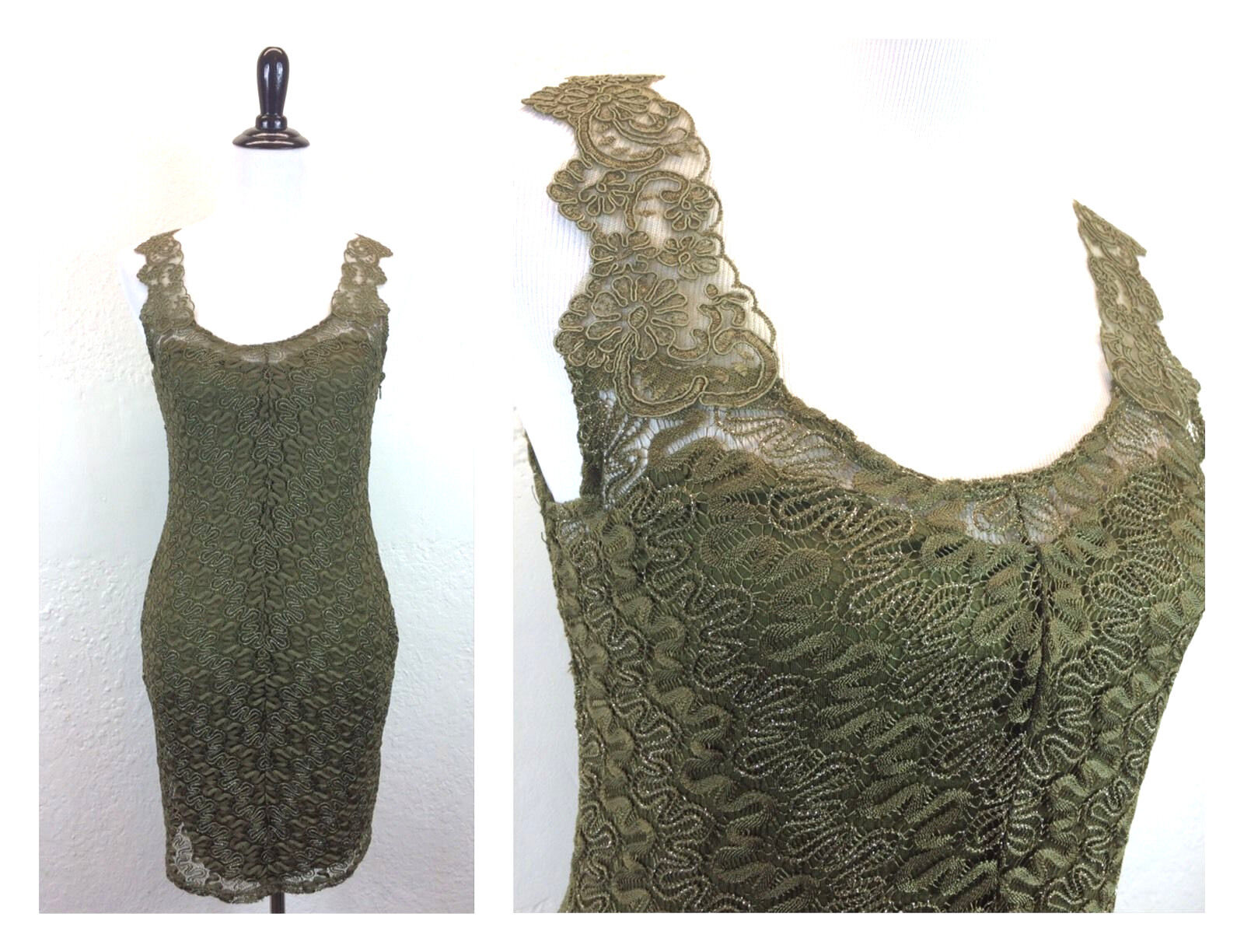 S24 NEW Free People Sz M Foiled Again Green Lace Bodycon Sleeveless Dress Shift