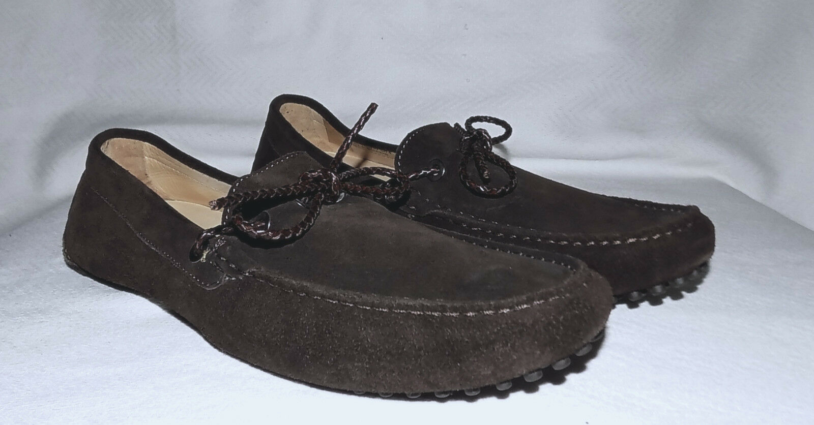 FACONNABLE -Genuine Leather Driving moccassins-Size 10 Usa-Brown-Excellent