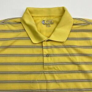Izod Cool FX Golf Polo Shirt Men's 2XL XXL Short Sleeve Yellow Striped Polyester