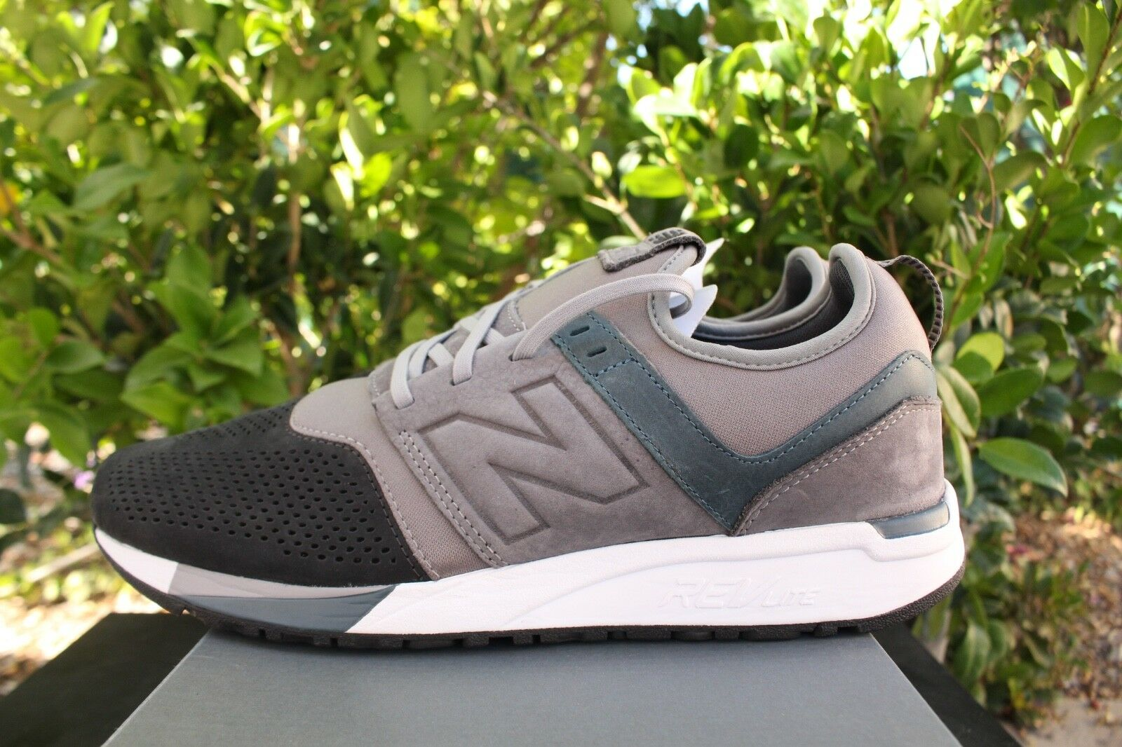 NEW BALANCE 247 LUXE SUEDE SZ 13 DARK GREY NAVY blueE BLACK ICONS MRL247N4