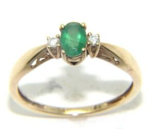 c081f7492423f Details about Women's Ladies 9ct 9carat Yellow Gold Green Stone & Diamond  Ring Size O ½.
