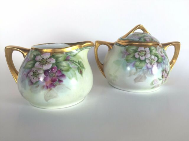 O E G Royal Austria Hand Painted Pink Green Floral Gold Gild Creamer Sugar Bowl