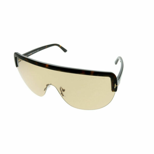 549b6e117fe Tom Ford Angus TF 560 52E Dark Havana Plastic Shield Sunglasses Light Brown  Lens