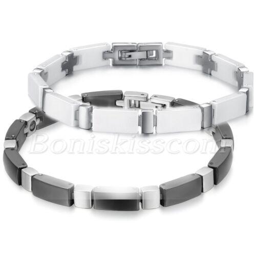 Homme Acier Inoxydable Noir//Blanc Céramique Bracelet Croix Bracelet Lien Chaîne Bracelet